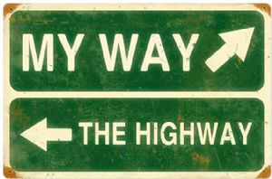 My Way, The Highway rusted metal sign  (pst 1812)